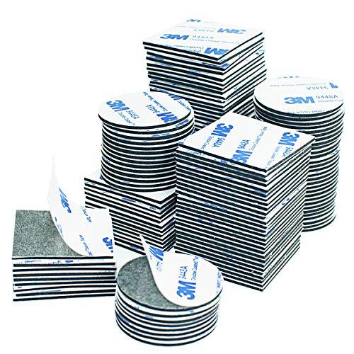Klebepads Doppelseitig, 130 Stück Doppelseitige Schaumstoff-Pads, Doppelseitiges Klebeband Extra Stark Klebeband Quadratisch und Rund,für Türen, Kunststoffe, Gläser, Metalle