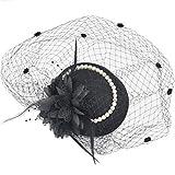 小さいシルクハットの女性の髪飾り、セレブのチャイナドレスは花嫁の帽子のベール、ディナードレスの髪飾り、復古の網の帽子を飾ります。 (A)