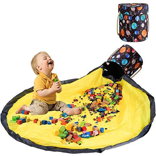 Surmounty Spielzeug Aufbewahrung Tasche, 2 IN 1 Spielzeugkorb Spielzeug Sack, Removable Aufräumsack Kinder Aufbewahrungsbeutel mit Deckel, Spieldecke Tasche Aufbewahrungsmatte mit Drawstring
