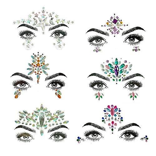 LONMEI Stickers Tatouage Bijoux De Visage Strass - Crystal Tears Gem Autocollants Temporaires, 6