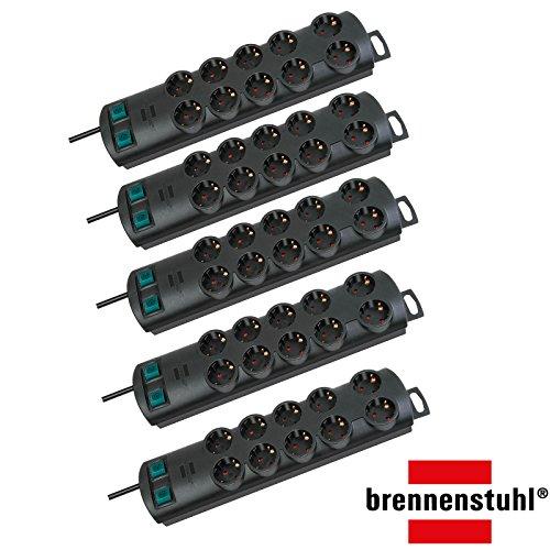 Brennenstuhl Primera-Line, Steckdosenleiste 10-fach (Steckerleiste mit 2 Schaltern für je 5 Steckdosen und 2m Kabel) Farbe: schwarz (5er Pack, Schwarz)