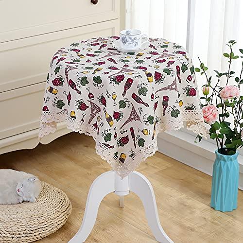 JIALIANG Mantel de algodón y lino con borla de encaje para cubierta de mesa, mantel de fiesta, banquetes de comedor, 150 cm