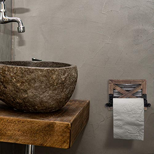 Autumn Alley Farmhouse Bathroom Toilet Paper Holder - Rustic Country Decor - Industrial Decorative Accessories - Warm Brown Wood, Corrugated Galvanized Metal & Black Metal - Adds Rustic Charm