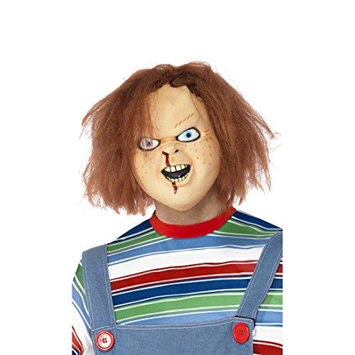 NET TOYS Chucky Maske Latex hautfarben Latexmaske Vollmaske Horrormaske Halloween Masken Kostüm Accessoire Halloweenmaske
