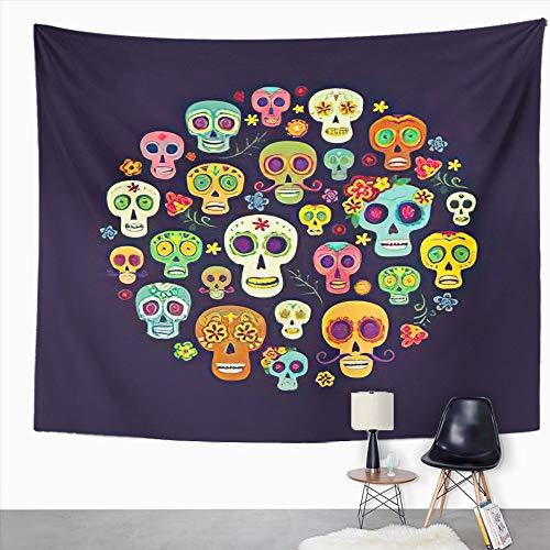 Y·JIANG Tapiz de calavera, un grupo de calaveras de azúcar El día mexicano de los muertos, tapiz decorativo grande, manta para colgar en la pared para sala de estar, dormitorio, 152,4 x 127 cm