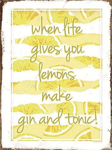 Lemons Gin Tonic - Placa decorativa de metal para pared, diseño con texto en inglés