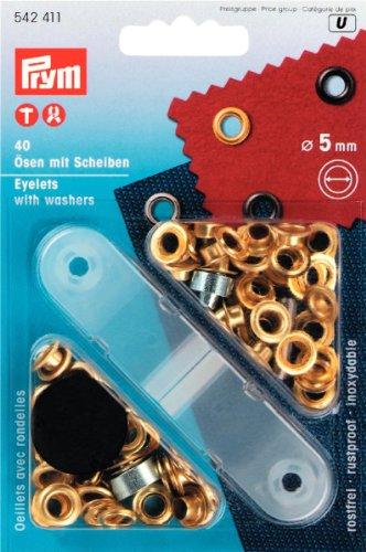 Prym Metallösen & Unterlegscheiben 5 mm Gold Messing (40pk)
