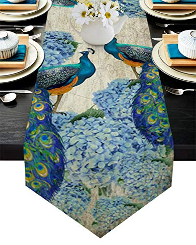 LooPoP Farmhouse Vintage Peacock Table Runner-Cotton Linen-Long 70 Inches Dresser Scarves, Farmhouse Table Runner for Valentine Day Wedding Dining End Table Decor Watercolor Animals