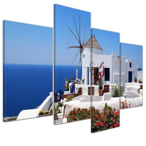 Bilderdepot24 Bild auf Leinwand | Griechische Mühle in 120x80 cm 4 TLG. als Wandbild XXL | Wand-deko Dekoration Wohnung modern Bilder | 16052