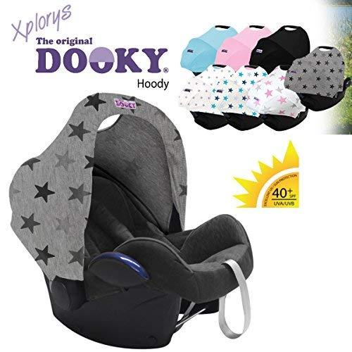 Original DOOKY HOODY ** Style UV+ ** Capote/Protège pare-soleil - universel pour siège auto Maxi-Cosi (Citi, Pebble, CabrioFix, Cabrio.), Römer, Cybex et autre (Grey Stars)