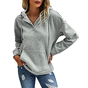 Women's Casual Long Sleeve Button Up Fleece Lined Hoodie Drawstring Sweatshirt Pullover