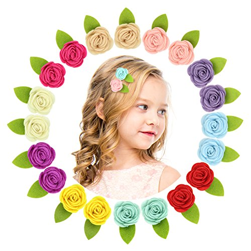 QtGirl Mini Felt Hair Clips Felt Flower Hair Accessories Non Slip Barrettes for...