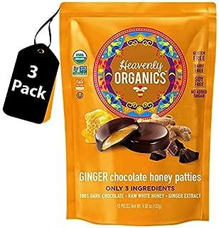Heavenly Organics Ginger Chocolate Honey Patties (3 Bags) Made with 100% Organic Cocoa and 100% Organic Raw White Honey; Non-GMO, Fair Trade, Kosher, Dairy & Gluten Free, No Sugar Added