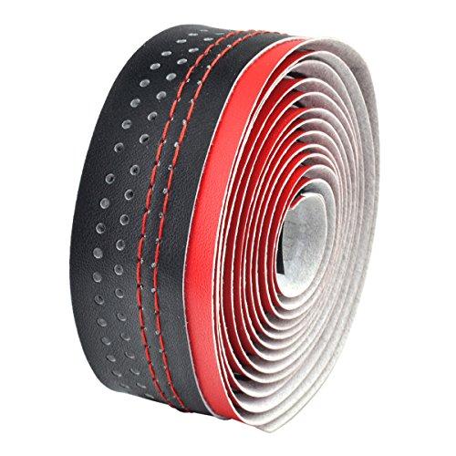 Velo - Cinta de manillar microfibra agujereada, color negro / rojo