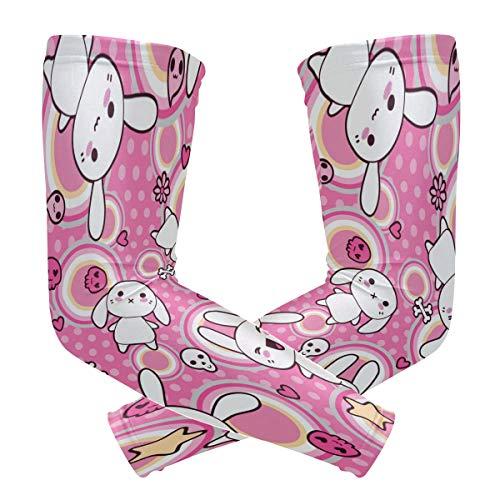 DXG1 conejo rosa lindo mangas para cubrir brazos tirador hombres mujeres protección UV bloqueador solar protector correr golf ciclismo conducción larga refrigeración compresión 1 par