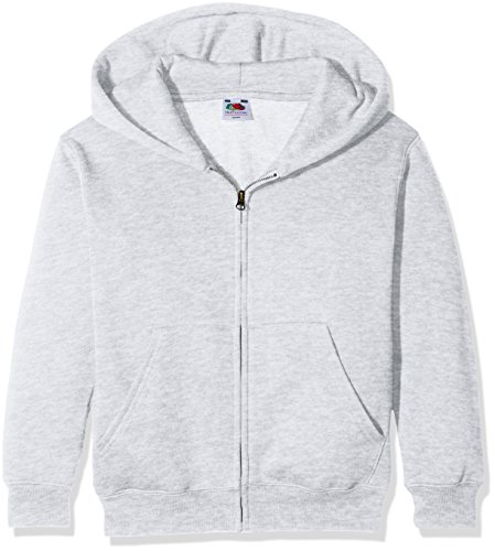 Fruit of the Loom Jungen Premium Hooded Sweat Jacket Kids Kapuzenpullover, Grau (Heather Grey 123), 152 (Herstellergröße: 12-13)