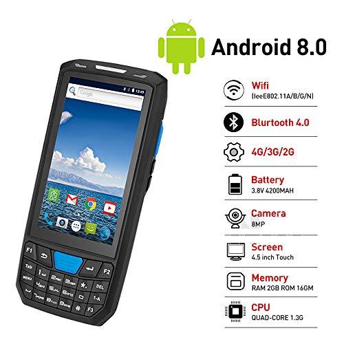 ZUKN Wireless 1D QR QR Code-Barres Lecteur Rapide pour Portable d'acquisition de données du Terminal est Compatible Bluetooth GPS WiFi 4G et NFC Android 8.0 Portable PDA Collector