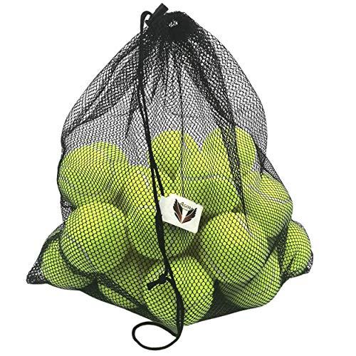 AGORA OPTIMUS XXL Satz von 24 weichgelben tennisbälle mit riesigem Tragnetz, ideal für Debütant/Semi-Pro-Matches auf Sandplatz oder zum Spielen mit Ihrem Hund/Welpen, ungiftig für Hunde
