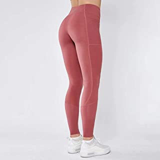 Splicing Pocket Yoga Pants Double-Sided Nylon High Elastic Tight Sports High Waist Fitness Pants Women,Pink,M