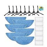 Charminer liefert Zubehör HEPA-Filtergewebe für ILIFE V3 V3S V5 V5S V5S Pro, Roboter-Staubsauger (8 Seitenbürsten + 6 Filtertücher + 6 Schwämme)