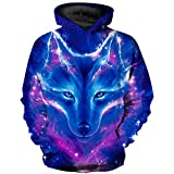 HaniLav Teen Boys' Wolf Sweatshirts Pocket Pullover Hoodies,Colorful Galaxy Flame Wolf,9-10T