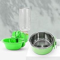 ペットウォーターボトル自動飲料水ポット給水器ポータブルボトルウォーターハンギングケージ猫と犬ペットウォーターディスペンサー アップルグリーン+グリーン