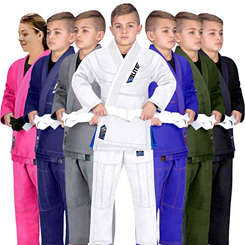 Elite Sports Ibjjf Ultra Light Bjj Brazilian Jiu Jitsu Gi for Kids with Preshrunk Fabric and Free Belt C3, White