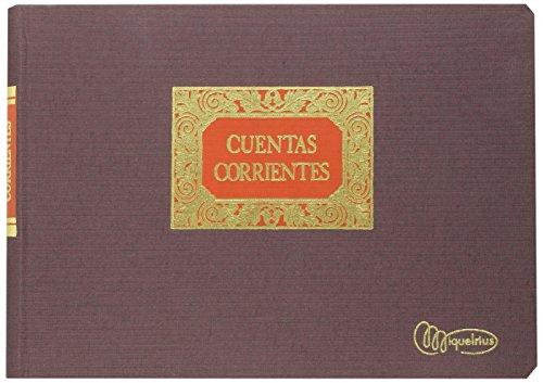 Miquelrius - Libro de Contabilidad, 4º Apaisado, Cuentas Corrientes (M,D,H,S,), 100 hojas (paginado), Forrado en tela y lomo engomado