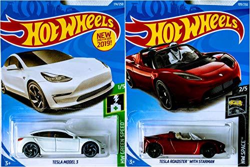 Hot Wheels Tesla Model 3 White 174/250 and Tesla Roadster with Starman Metallic Red 109/250 2 Car Bundle Set