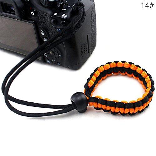 BEARCOLO gevlochten camera pols riem touw verstelbare paracord camera armband handgreep riem voor camera's, verrekijkers en camcorder