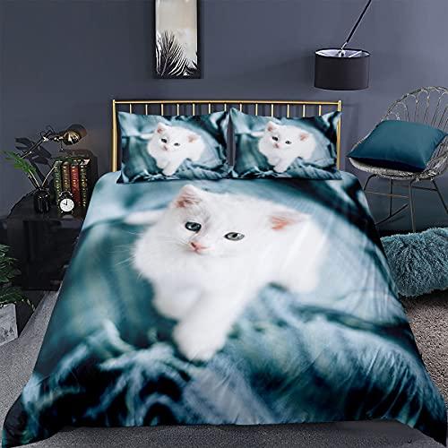 BOLAT Funda de edredón de alta definición, estampado de gato de microfibra 3D, funda de edredón para cama doble para decoración del interior (L,King220 x 240 cm)