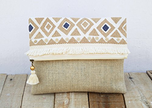 VLiving Bolso bohemio azteca de algodón lavado a la piedra con lentejuelas plateadas multiusos con cremallera (rubor, 25,4 x 20,3 cm)