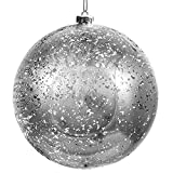 BELLE VOUS Bolas de Navidad - Bola Plateada de Plástico Grande 19,5 cm con Cuerda Adornos...