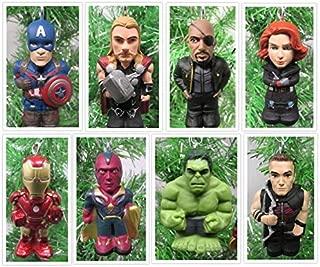 Super Hero Team Avengers Ornament Set Featuring Hulk, Captain America, Iron Man and Other Avenger Team Members - Unique Shatterproof Plastic Design