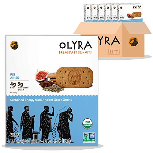 OLYRA Organic Breakfast Biscuits Fig Anise-Low Sugar High Fiber Plant Based Protein Cookies (6 Boxes)