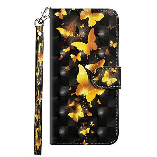 vingarshern Hülle für Alcatel Pixi 4 (5) 3G Schutzhülle Etui Klappbares Magnetverschluss Lederhülle Flip Case Handytasche Alcatel 5010D Hülle Leder Brieftasche Tasche MEHRWEG(Schmetterling-1)