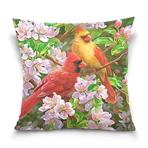 FULUHUAPIN Kissenbezug mit Vogel und Blumen, quadratisch, bedruckt, Baumwolle, für Sofa, Heimdekoration, 45,7 x 45,7 cm, 2030402