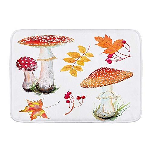 N\A Badematte Teppich, Aquarell Set Fliegenpilz Pilz in Gras und Herbstlaub, Plüsch Badezimmer Dekor Matten mit rutschfesten Rücken