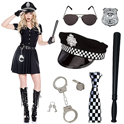 SnowDream Sexy Polic Police Costume, Police Woman Accessories, Oficial de Polica Disfugos de Adultos Conjunto de Adultos Detective Cop SWAT Pop Accesorios Accesorios DE Halloween Partido Vestir,A
