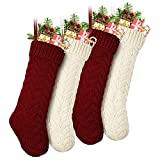 """LIBWYS Knit Christmas Stockings, 18"""" Large Cable Xmas Stockings Classic Burgundy Red & Ivory White Chunky Hand Stockings (Burgundy, Ivory, 2)"""