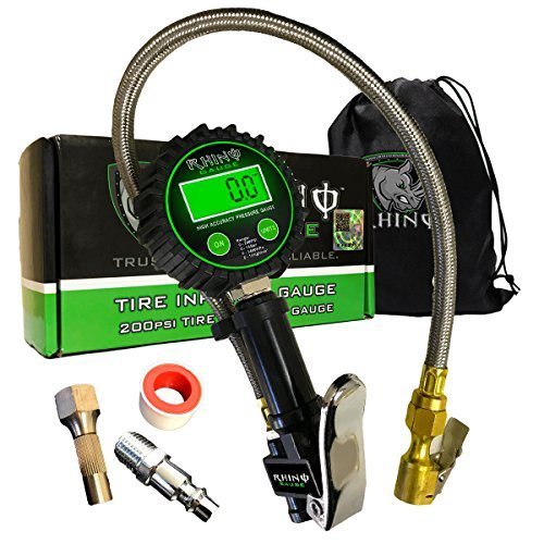 Rhino USA Digital Tire Inflator with Pressure Gauge (0-200 PSI) - ANSI B40.1 Accurate, Large 2' Easy Read Glow Dial, Premium Braided Hose, Solid Brass