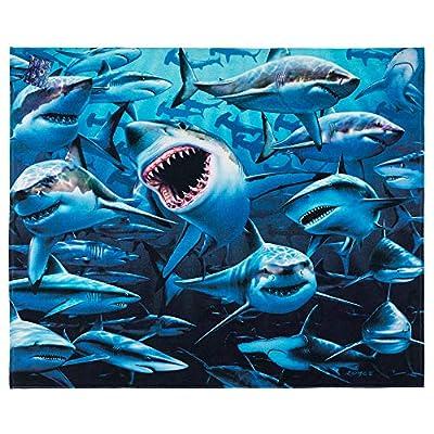 Sharks Beach Towel by Royce 54 x 68 inch Beach Blanket 100% Soft Cotton