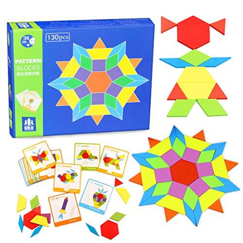O-Kinee Tangram Infantil 130 Bloques de Patrones de Madera Blocks Juguetes Educativos Juego de Forma DIY Geométrica de Manipulación Montessori Regalo Jigsaw Puzzle con 24 Tarjetas de Diseño
