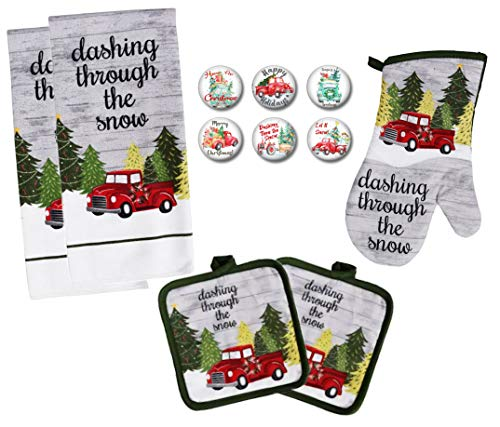 Farmhouse Daisy Designs Old Red Truck Decor Christmas Kitchen Decorations Towel Set with Pot Holders Oven Mitt and Set of 6 Refrigerator Magnets Set - (Red Truck)