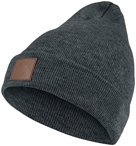 Warme Damen Beanie Mütze | Herren Mütze mit Leatherpatch | Strickmütze Wintermütze | für Frauen Männer Unisex | Cuffed Hats Weich & Warm
