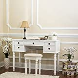 Fineboard Dressing Stool Beauty Station Makeup Table Three Mirror Vanity Set, 5 Organization Drawers, White