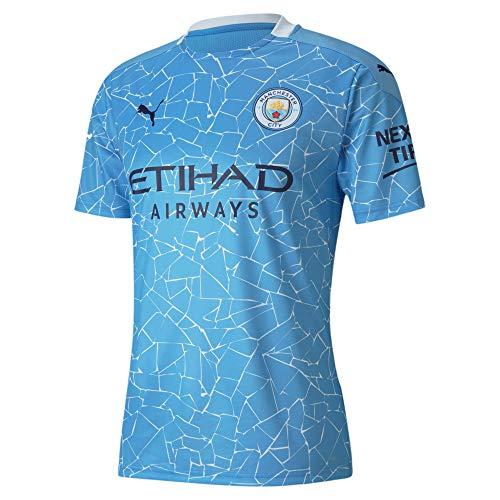 PUMA Uni Kinder Trikot 20/21 Home Manchester City FC Replica with Sponsor Logo T-Shirt, Team Light Blue-Peacoat, 152