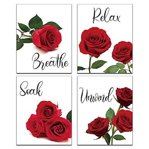 Modern Art Red Rose Flower Wall Painting 4 Piece (8'x10'UNFRAMED) Relax Soak Unwind Breathe Bathroom Wall Decor Art Prints Bathroom Spa Restroom Bedroom Poster Home Decor Unframed