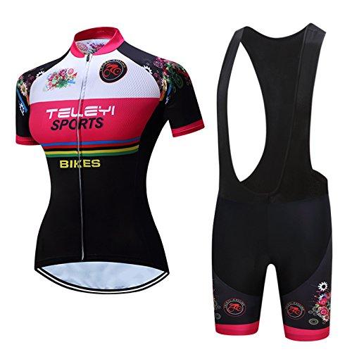 Faukux dames korte mouwen fietsshirt met korte broek - zwart-wit fiets gewatteerde shorts ademende kleding pakken