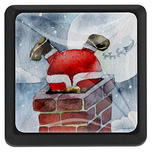 TIZORAX Schubladenknöpfe Santa Claus Klettern Kamin Küche Schrank Griff Ziehen Quadratisch 3 Packungen für Schrank Schrank Kommode Tür Home Decor